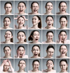 faces of different women's emotions