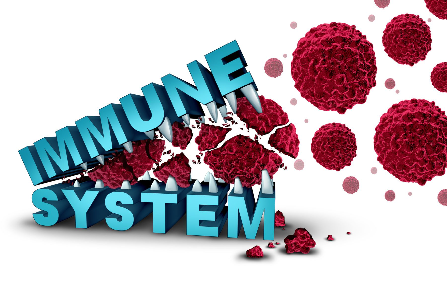 Immune system concept and immunology or immunotherapy dna based treatment with text eating and destroying malignant cancer cells as a medical and medicine cure as a 3D illustration.